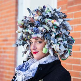 Masking tape, double-sided tape and newspaper are used to create a simple yet impressive halloween costume wig.