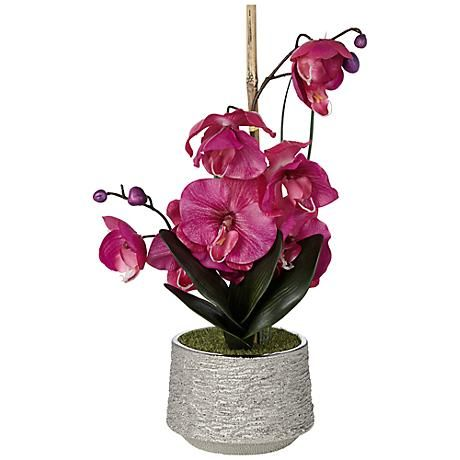 """Purple 21"""" High Faux Orchid in Silver Pot"""