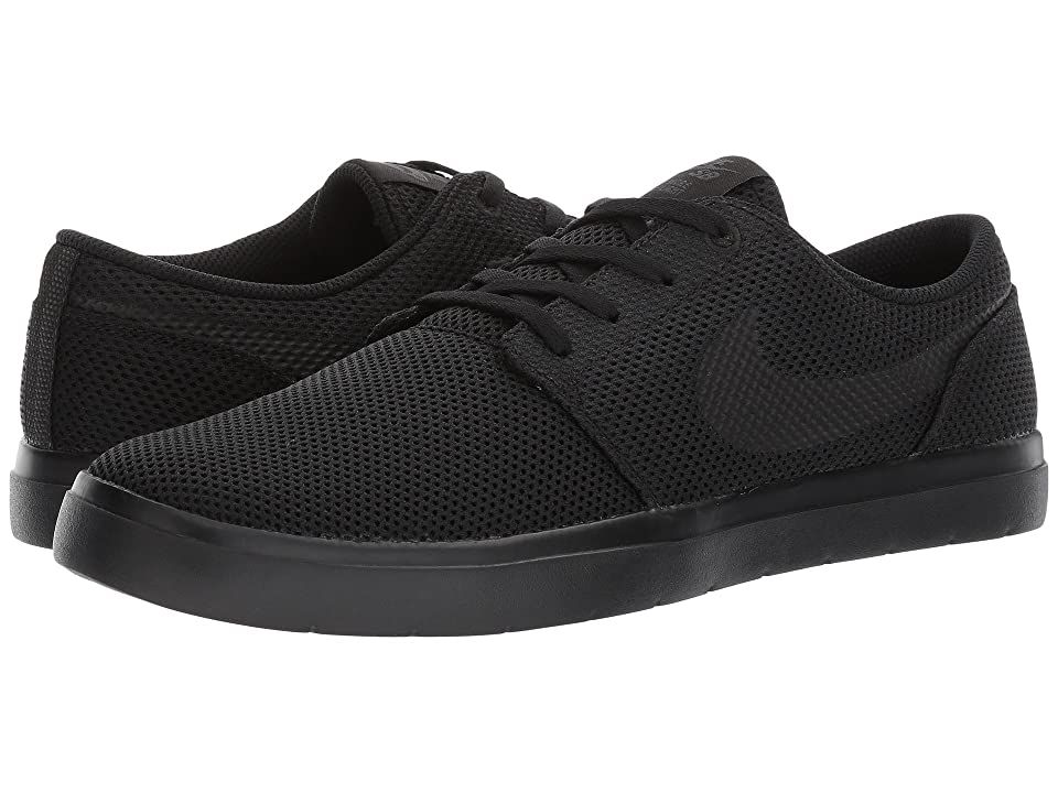 Nike SB Portmore II Ultralight (Black/Black/Anthracite) Men's Skate Shoes. Nike SB keeps your game fresh with the Portmore II Ultralight. Features a streamlined  low-profile silhouette. Mesh upper for breathable and comfortable wear. Vulcanized construction for comfort and board feel. Tacky gum rubber outsole for grip and traction. Imported. Lace-up closure provides a custom fit. Measurements: Weight: 7 oz Product measurements #NikeSB #Shoes #Athletic #Skate #Black