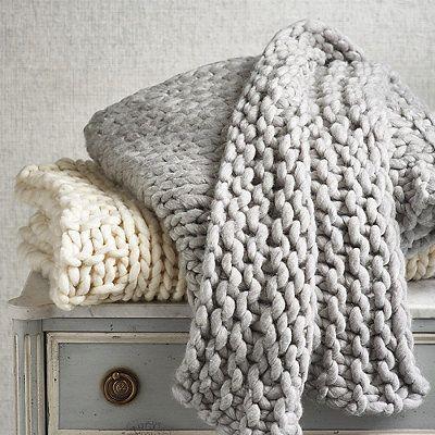 Merino Broomstick Knit Throw -