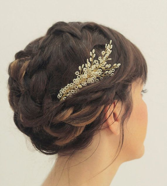 bride headpiece / beaded bridal hairpiece / wedding hair jewelry / silver beads hair comb / leaf shaped hair pin, Greek style.