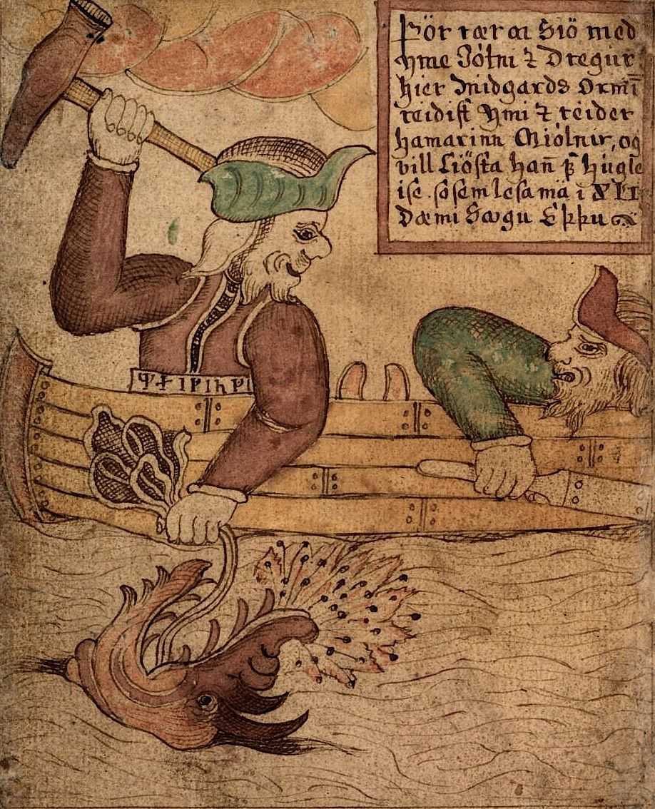 Thor grasps Jörmungandr's tongue and raises Mjölnir. Several Norse myths detail Thor's encounters with Jörmungandr. Midgarðsormr, The Midgard Serpent, was the offspring of the giantess Angrboða and Loki. According to the Prose Edda; Loki's three children by Angrboða were the giant wolf Fenrir, Jörmungandr and Hel (who rules over Niflheim). Odin cast Jörmungandr into the ocean which surrounds Midgar…