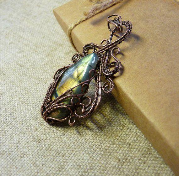 Wire Wrapped Labradorite Pendant Labradorite Necklace Handcrafted