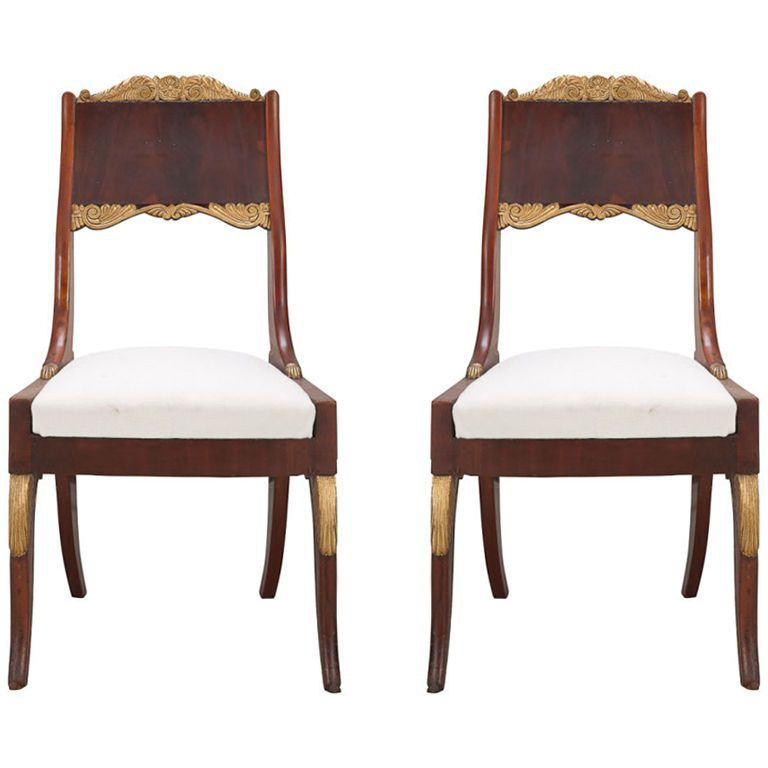 Pair Of Russian Empire Mahogany Side Chairs 1800 1820