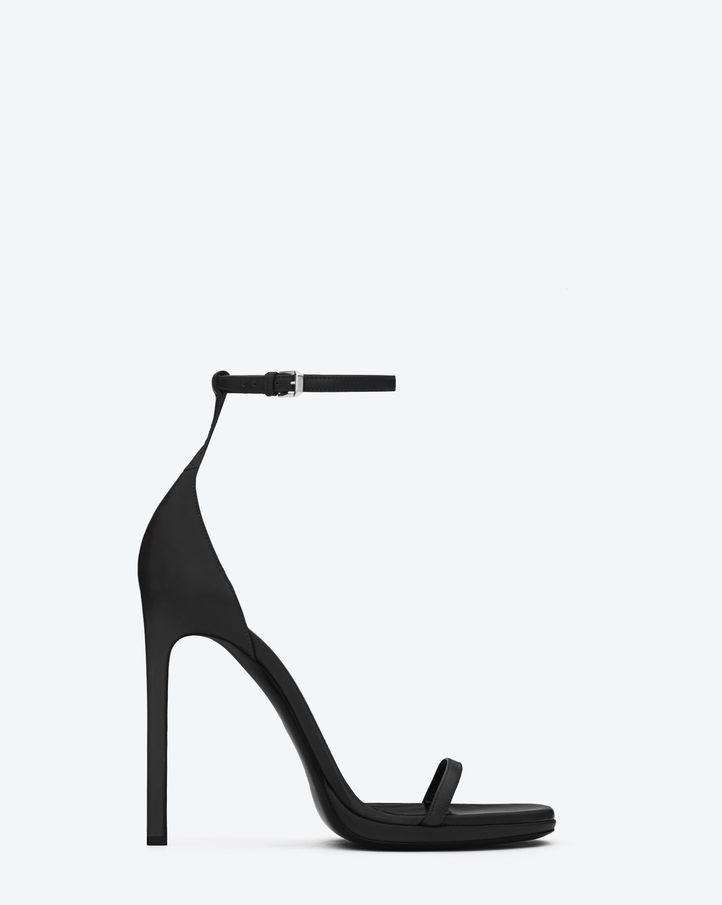 Ankle Strap Sandal In Black Leather