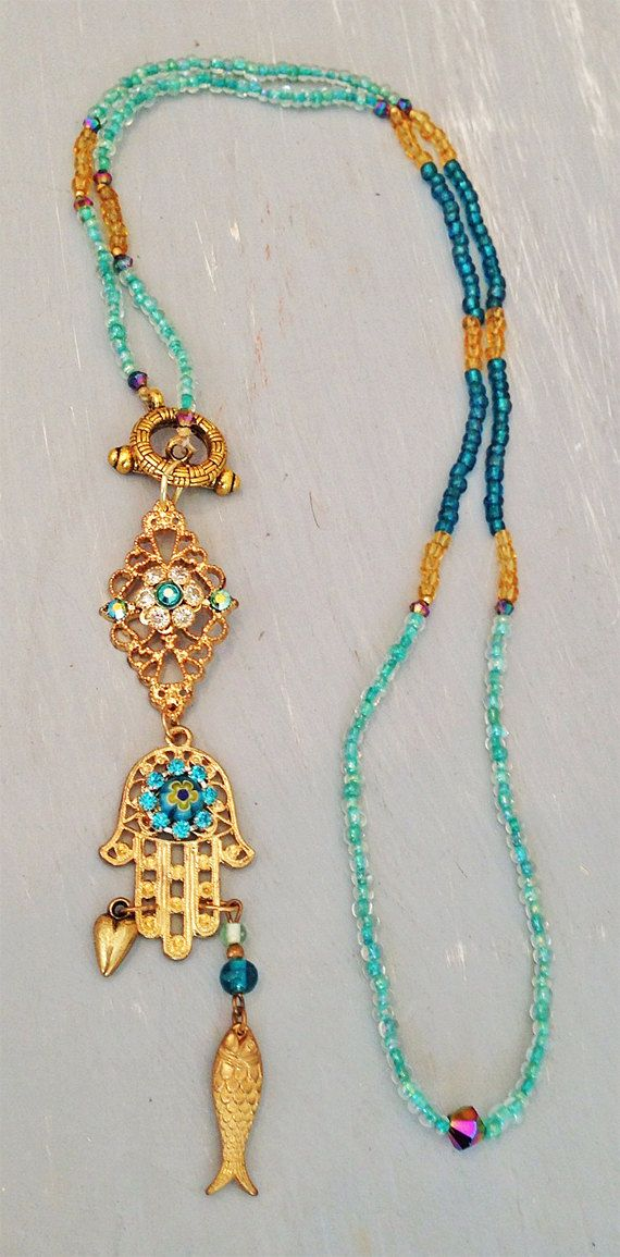 Boho Chic Gold Hamsa Hand Pendant Necklace - Turquoise Blue, Teal and Gold Glass Beads - Long Necklace on Etsy, $98.00
