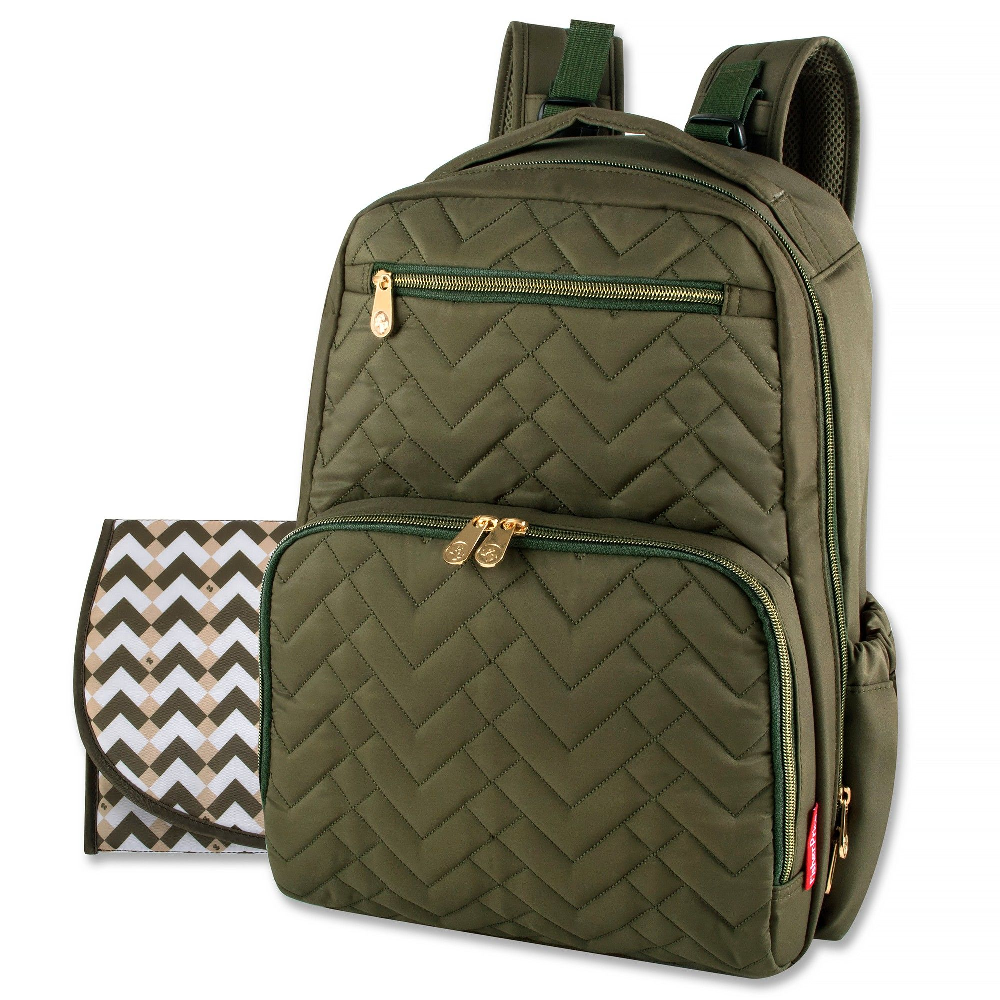 Fisher-Price Morgan Quilted Diaper Backpack - Olive (Green ... 643c608721