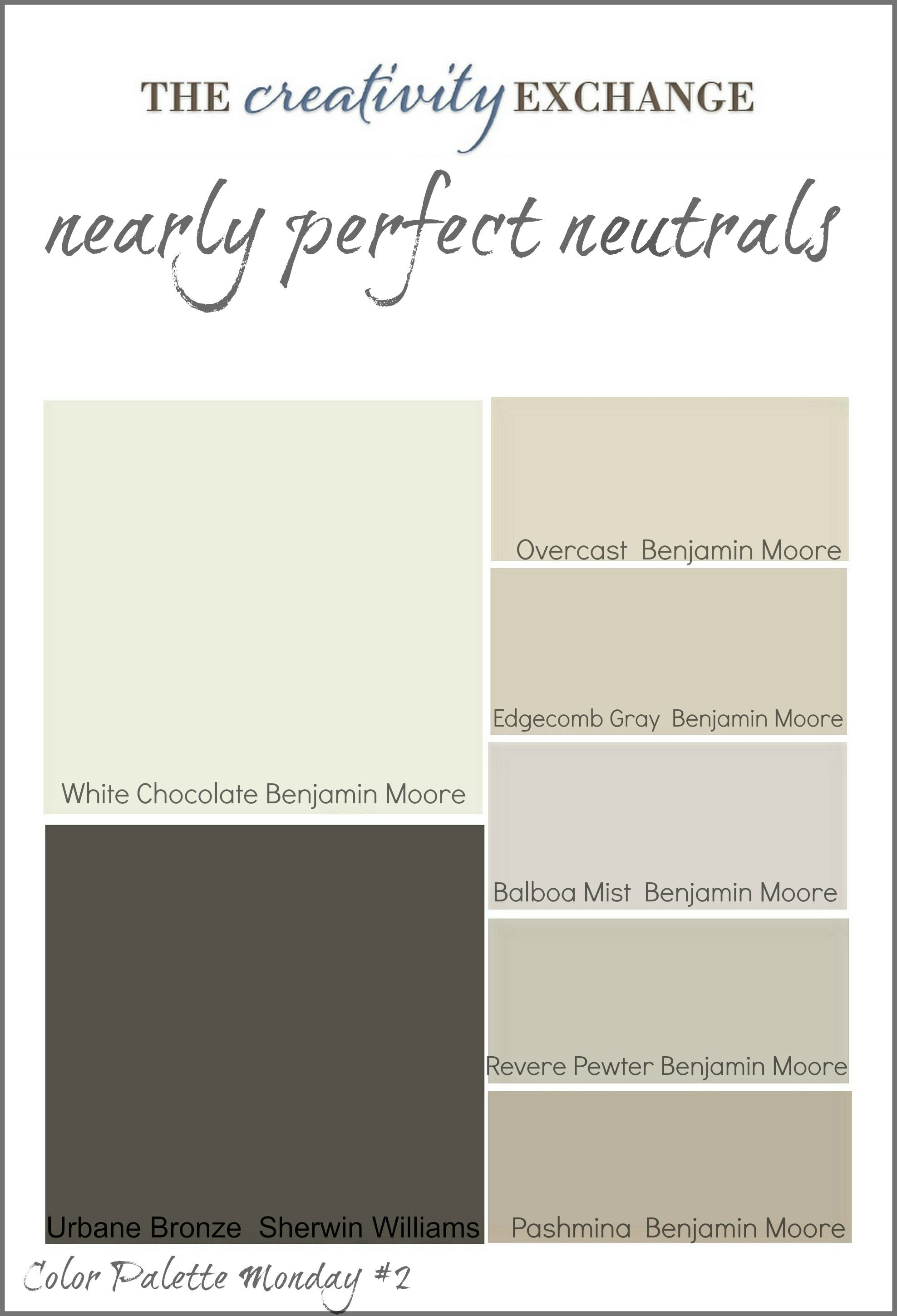 Collection Of Great Neutral Paint Colors Used Frequently By Builders And Designers Color Palette Monday 2 The Creativity Exchange