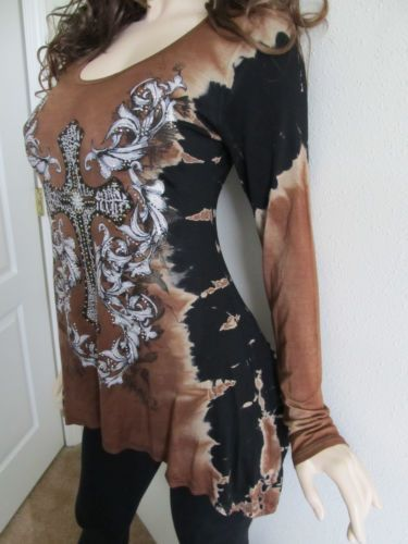 NEW VOCAL Womens CRYSTAL BLACK AZTEC TUNIC TANK TOP SHIRT S M L XL USA