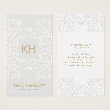 Elegant Wedding Stylist Planner Ornate Monogram Business Card
