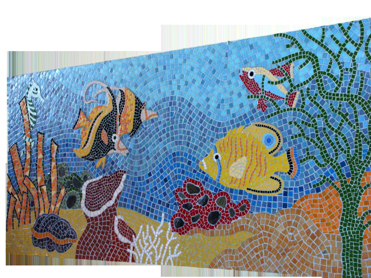 Mural de mosaico taps de pl stic trencadis i mapes for Disenos para mosaicos