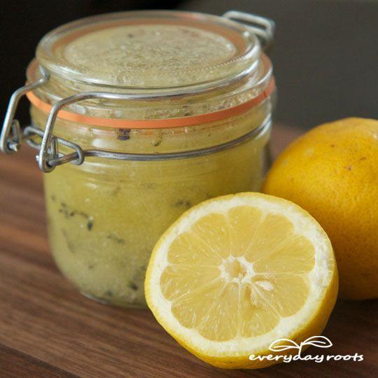 Homemade Salt & Lemon Body Scrub- will leave your skin silky smooth.