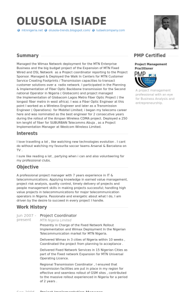 resume examples for project coordinator