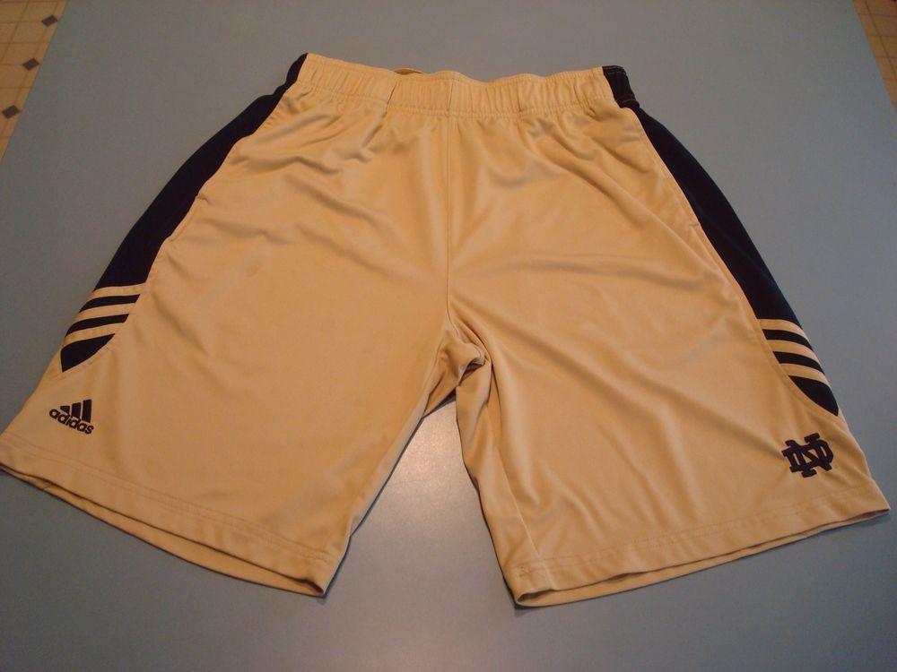 buy popular b2801 d2fac Mens Large Adidas Climalite Notre Dame Basketball Shorts Gym Football Gold  Blue  adidas  NotreDameFightingIrish