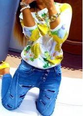 Round Neck Long Sleeve Flower Print Sweatshirt