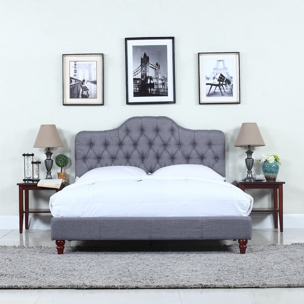 Best Classic Tufted Fabric Bed Light Gray Full Upholstered 400 x 300