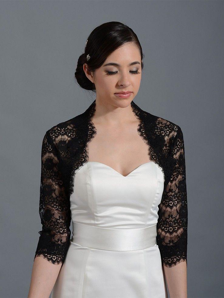 Black 3 4 Sleeve Bridal Lace Wedding Bolero Jacket 051n Lace Shrug For Dresses Bridal Dresses Bridal Jacket