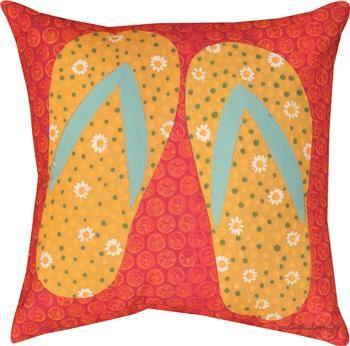 "SLFLFP 18"" x 18"" Flip Flops   Indoor/Outdoor PillowOriginal Artwork © Katherine Lovell, Licensed by Wild Apple                                                        beachy"