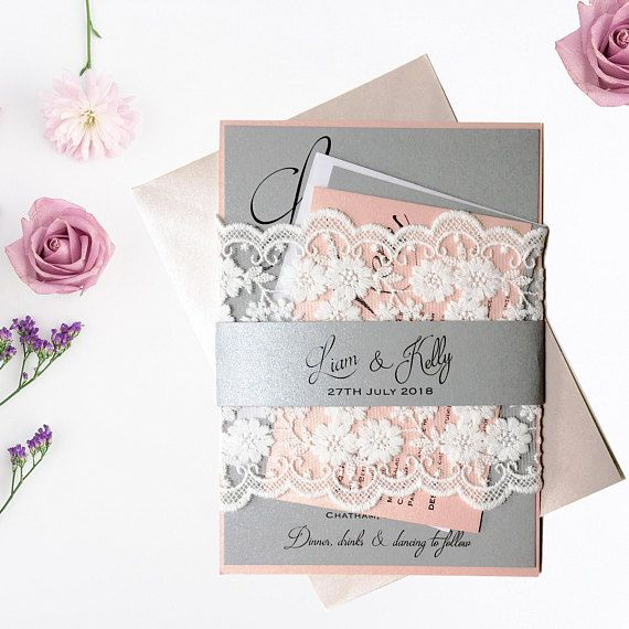 Luxury Invitation Pink Grey Wedding Invitation Formal Invitation