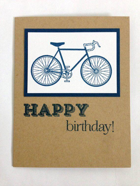 Bike Card Happy Birthday Card Bicycle Card Cards For Him Etsy Bike Card Birthday Cards Happy Birthday Cards
