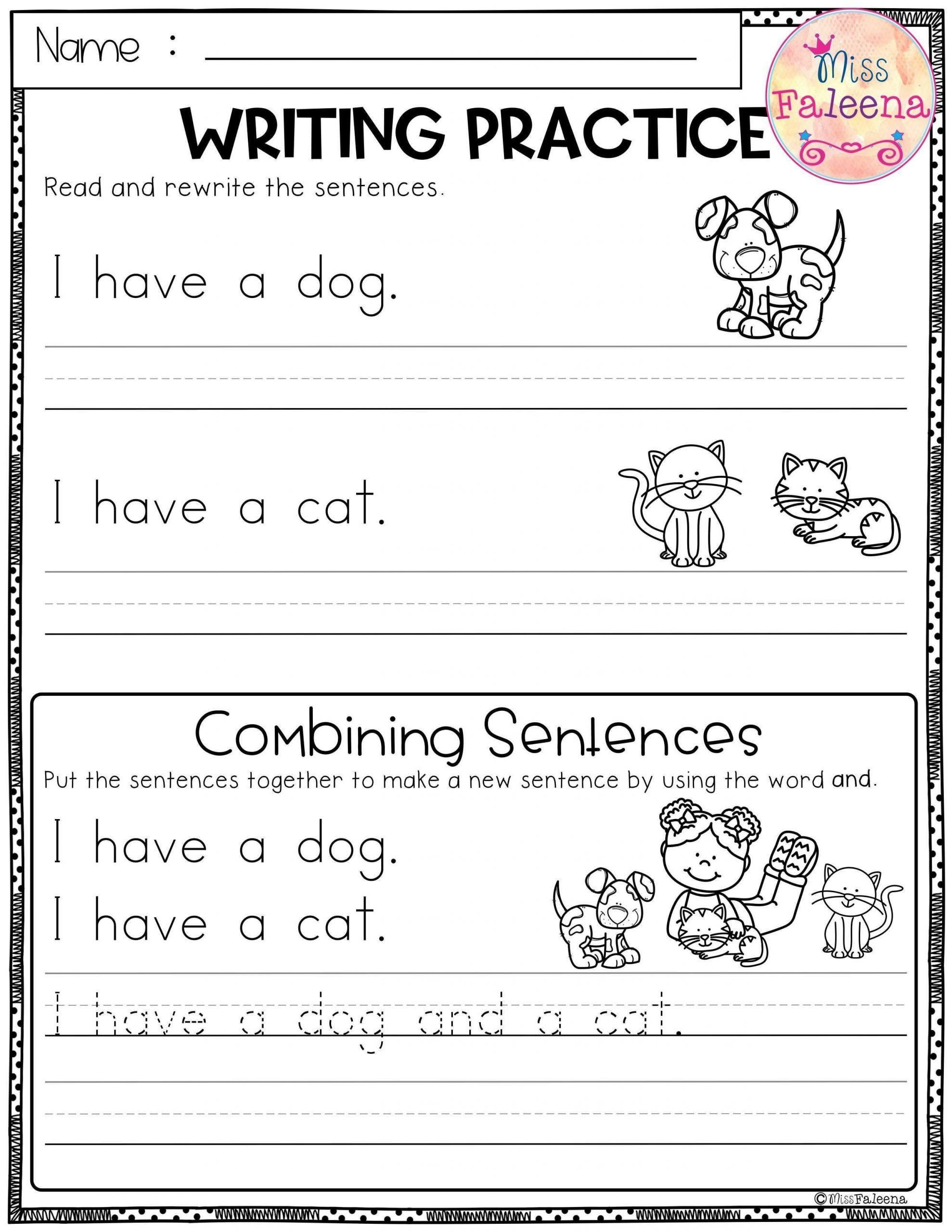 Kindergarten Sentence Writing Pract