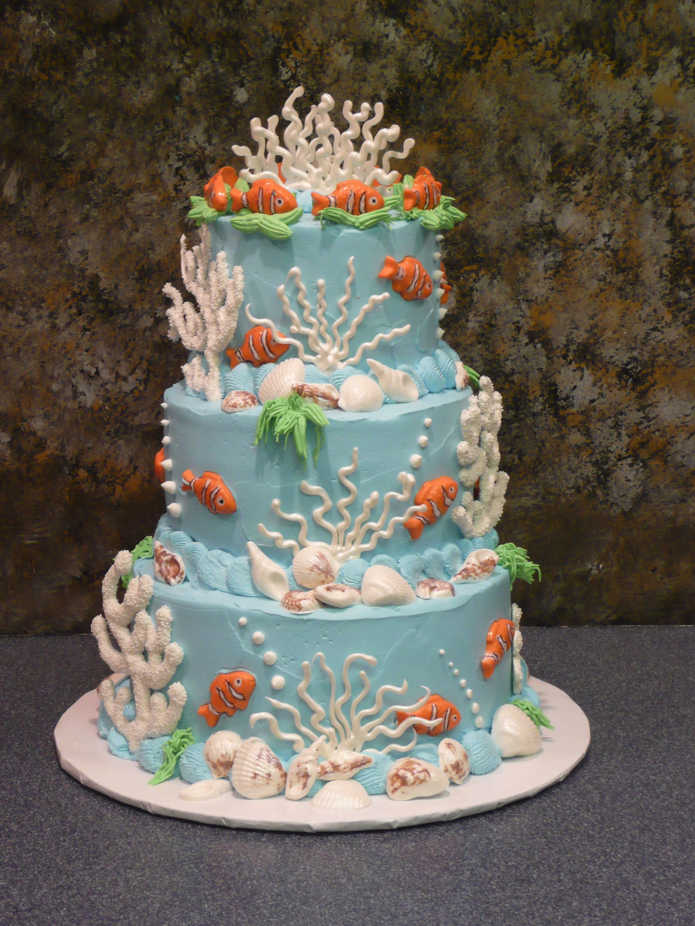 Undersea Cake With Fish Shells And Coral