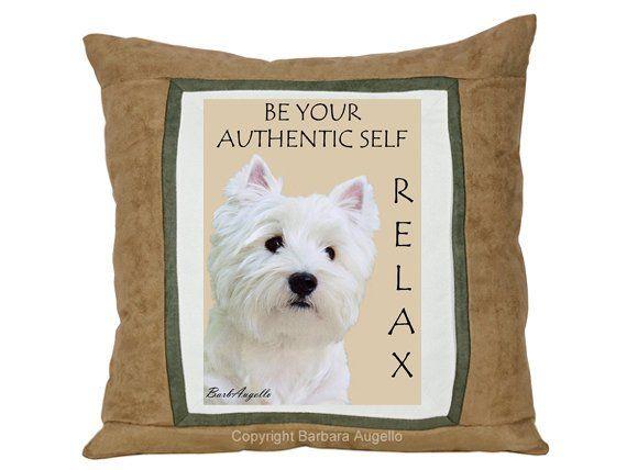 Westie Pillow, Westie Gift, Yoga Decor, Yoga Gift, Meditation Gift, Yoga Art, Zen Art, Mindfulness Gift