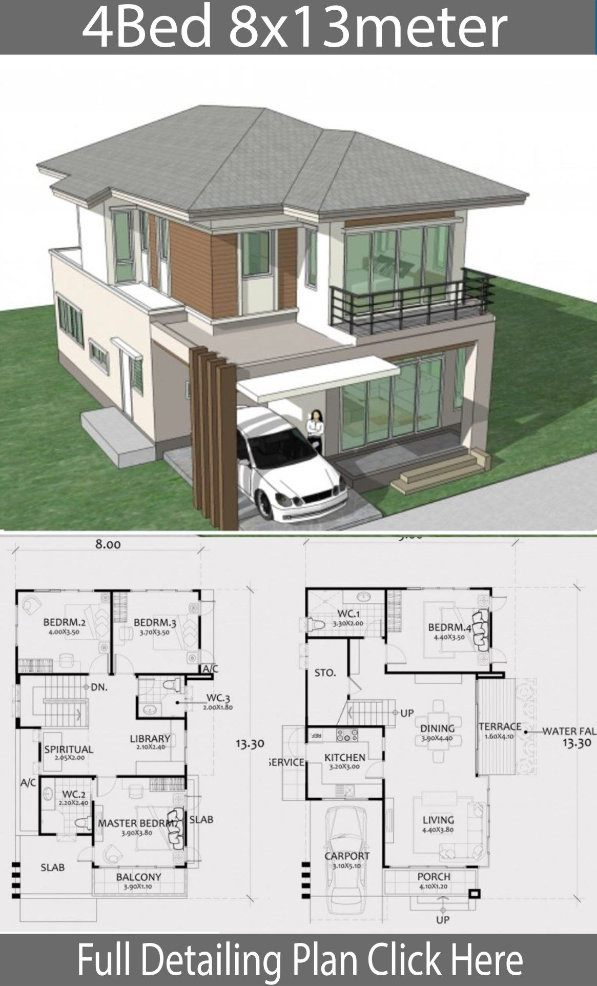 Home Design Plan 8x13m With 4 Bedrooms Home Design With Plansearch House Architecture Design Architectural House Plans Home Design Plans