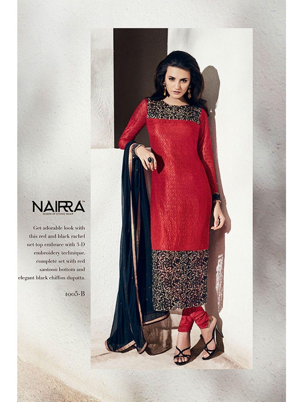 Designer salwar kameez mesmeric peach color net designer suit - Nakkashi Black Red Chiffon And Georgette Designer Salwar Kameez
