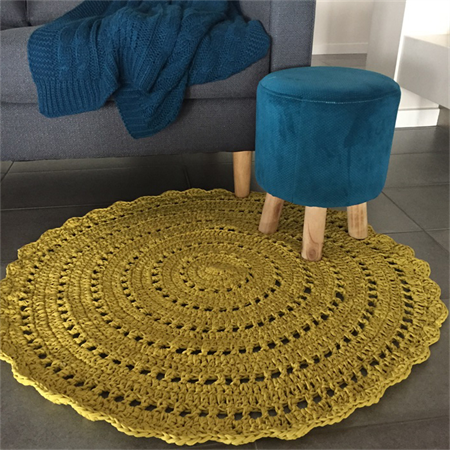 Mustard Yellow Crochet Floor Rug Handmade In Australia Rugs