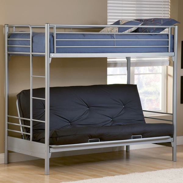 Medium image of the brayden twin over full futon bunk bed by hillsdale provides double sleeping space in smaller bedrooms  the bottom bunk is a futon that saves space