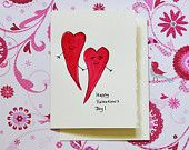 Watercolor Greeting Card - Valentine's Day Greeting Card - Blank Inside - Handmade Greeting Card with Envelope - Original Artwork - Set 2