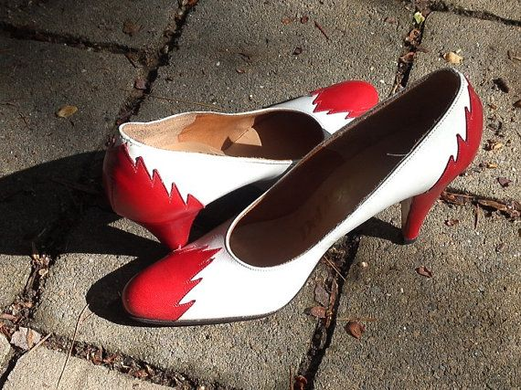 SALE White Leather High Heels with Red Leather by FunkyPoodles