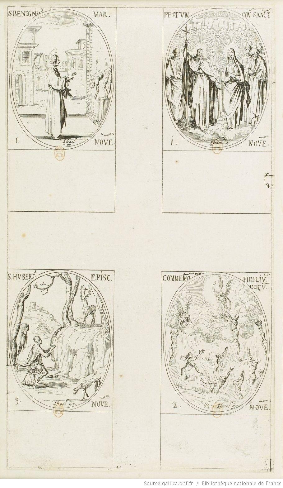 [Les images des saints]. [389-392], [Les images des saints. Quatre-vingt-dix-huitième planche] : [novembre] : [estampe] / [Jacques Callot]