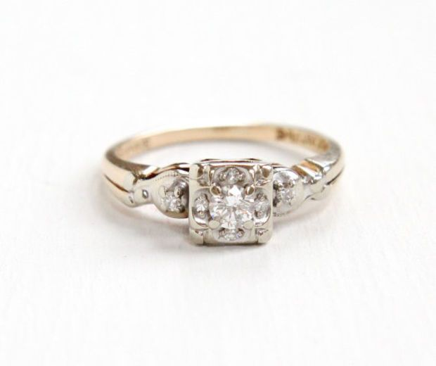 Vintage 14K Yellow & White Gold Diamond Cluster Ring - Size 6 1/2 1940s Art Deco Fine Engagement Jewelry Hallmarked Evertrue