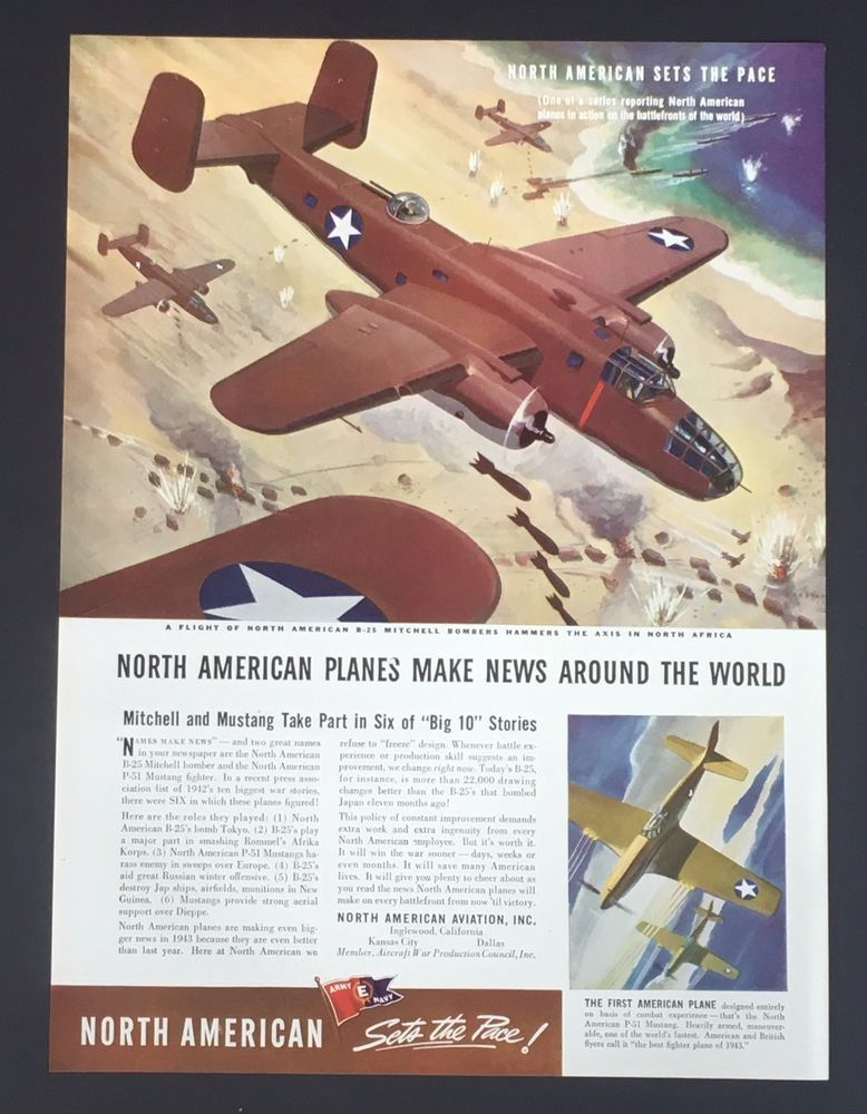 1942 North American B-25 Mitchell Bomber WWII Advertising Poster