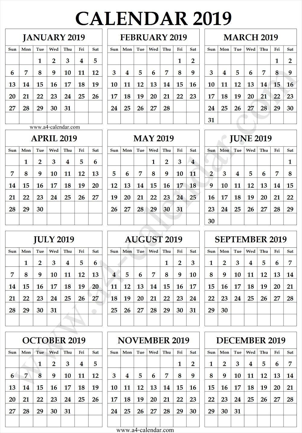 Free A4 Calendar 2019 Calendar 2019 Printable Printable