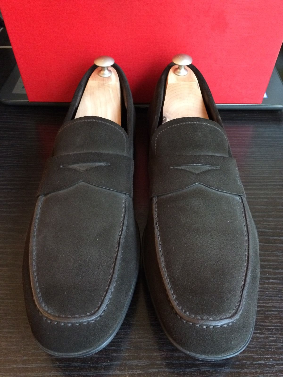 MEN'S PRADA LOAFERS IN DARK BROWN SUEDE USA SIZE 10 D. MADE IN ITALY! | Dress shoes men. Mens brown leather loafers. Loafers