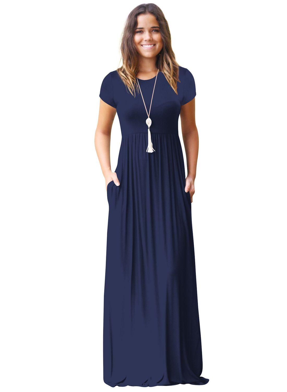 Round neck short sleeve pockets maxi dress azbro window