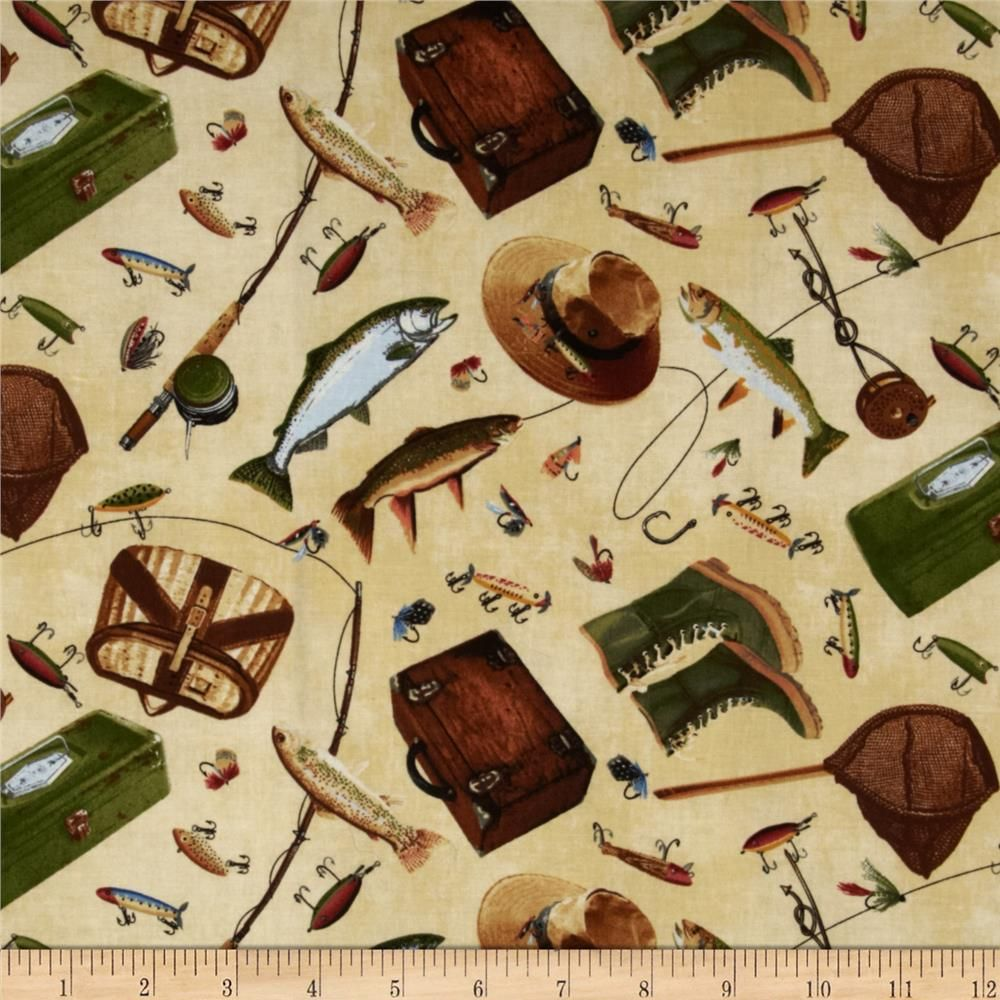 Timeless treasures norman rockwell fishing icons natural for Fish pattern fabric