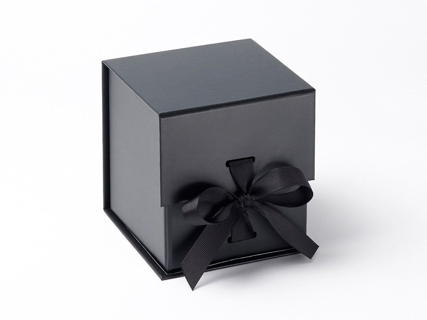 Black large cube gift boxes with changeable ribbon