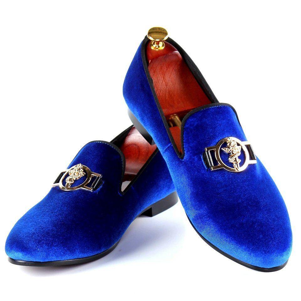 nanaloafers Men Buckle Blue Velvet Loafers