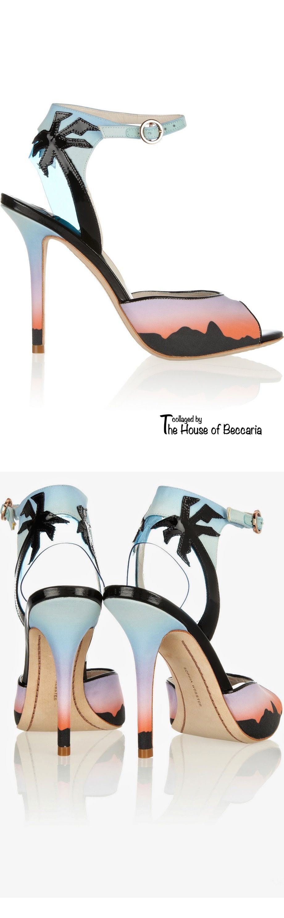 ~Sophia Webster Rio sunset printed matte-satin sandals | The House of Beccaria