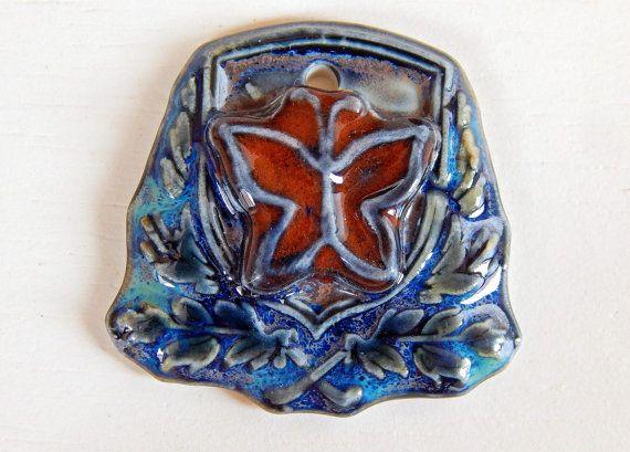 Handmade porcelain pendant boho red butterfly . by Majoyoal