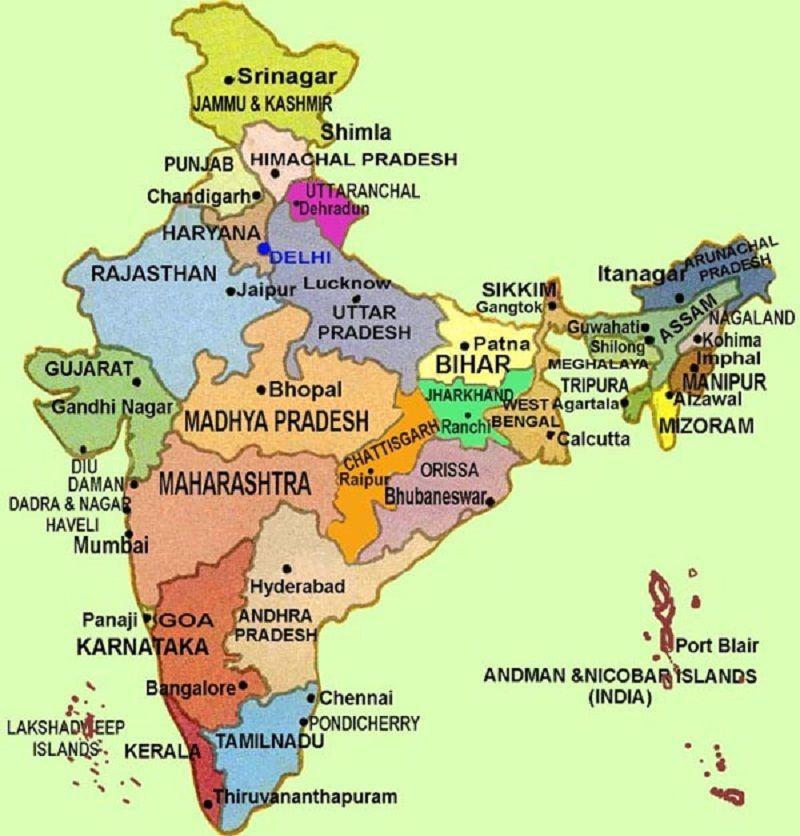 India  Political Map indian politics Pinterest - new world map to print ks1