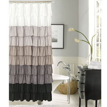 Maribella Charcoal Ombre Ruffled Shower Curtain Ruffle Shower Curtains Purple Shower Curtain Ruffle Curtains
