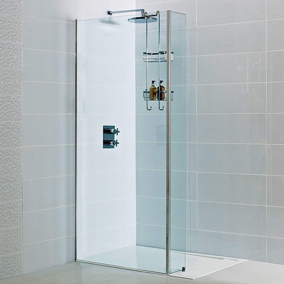 Roman Decem Wetroom Panel With Concealed Wall Profile Corner Shower Enclosures Neo Angle Shower Enclosures Shower Panels
