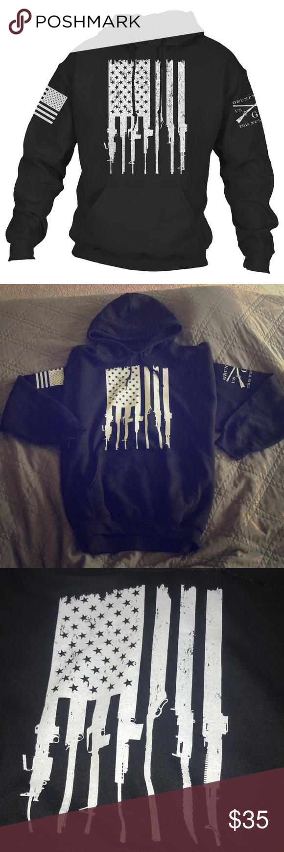 "b7602dae NWOT Grunt Style ""Rifle Flag"" hoodie Celebrate the 2nd Amendment of the  United States"