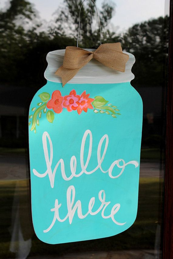 Mason Jar Door Hanger- Retro Floral Hello There- Door Decor- Door Art- & Mason Jar Door Hanger- Retro Floral Hello There- Door Decor- Door ...