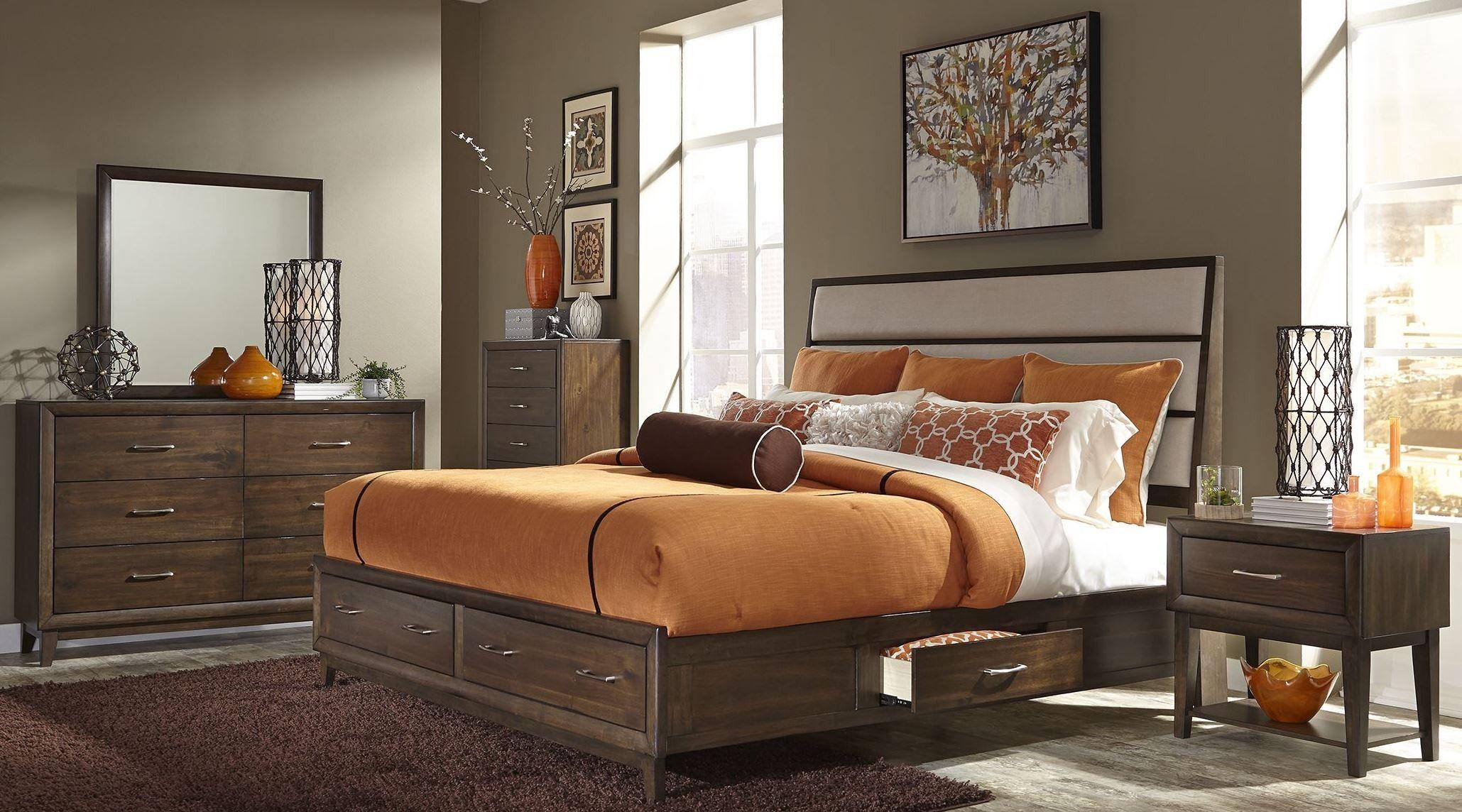 Hudson Square Espresso King Panel Storage Bed Liberty